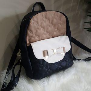 Betsey Johnson Black/White/Tan Backpack/Purse